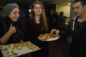 Filmbox volunteers and patrons tuck into Holwood Farm's delicious delights (Dec. '12).