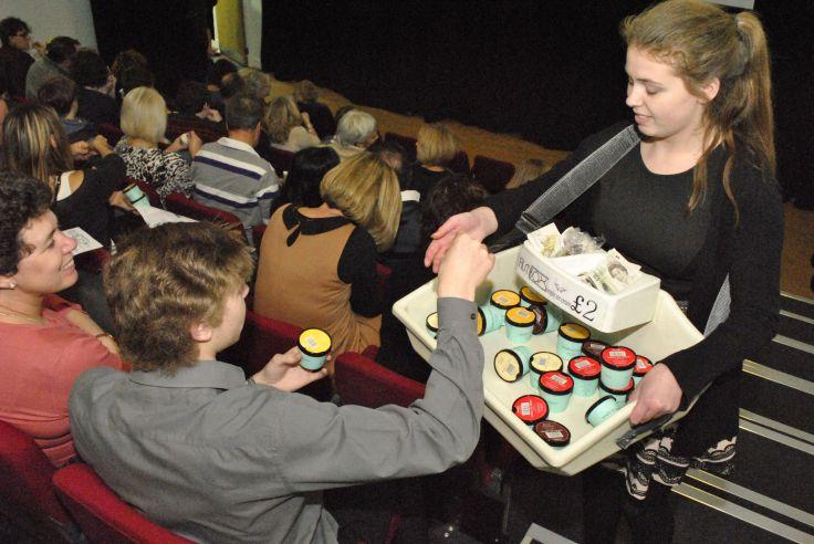 Filmbox patrons enjoying Simply ice cream in the Studio 609 cinema.